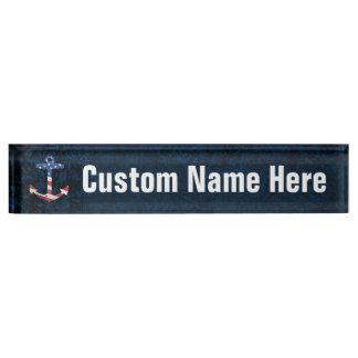 Vintage Patriotic American Flag Anchor Nautical US Name Plate