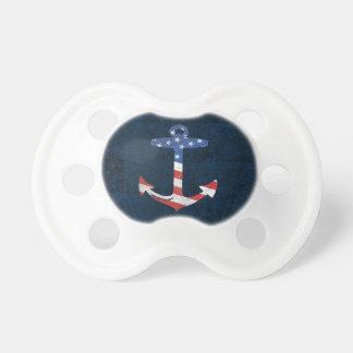 Vintage Patriotic American Flag Anchor Nautical US Pacifier