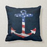 Vintage Patriotic American Flag Anchor Nautical US Pillow