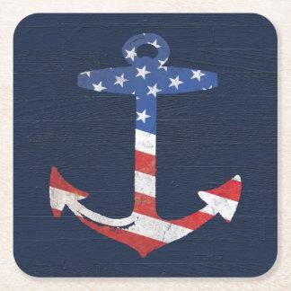 Vintage Patriotic American Flag Anchor Nautical US Square Paper Coaster