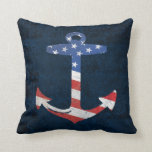 Vintage Patriotic American Flag Anchor Nautical US Throw Pillow