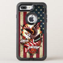 Vintage Patriotic American Flag Bald Eagle Tattoo OtterBox Defender iPhone 8 Plus/7 Plus Case