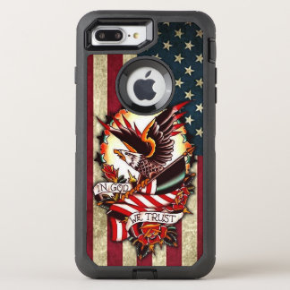 Vintage Patriotic American Flag Bald Eagle Tattoo OtterBox Defender iPhone 8 Plus/7 Plus Case