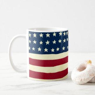 Vintage Patriotic American Flag, Fourth of July Coffee Mug