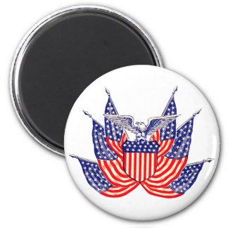 Vintage Patriotic American Flag, Fourth of July Magnet