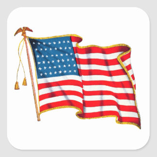Vintage Patriotic American Flag, Fourth of July Square Sticker