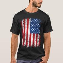 Vintage Patriotic American Flag Vertical T-Shirt