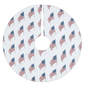 Vintage Patriotic American Flag Waving in the Wind Brushed Polyester Tree Skirt