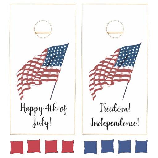 Vintage Patriotic American Flag Waving in the Wind Cornhole Set