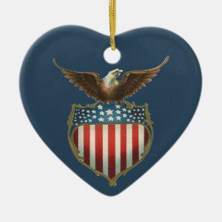 Vintage Patriotic American Flag with Bald Eagle Christmas Ornaments