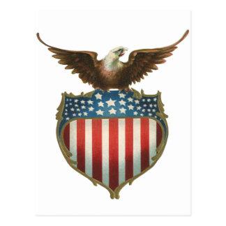 Vintage Patriotic American Flag with Bald Eagle Postcard