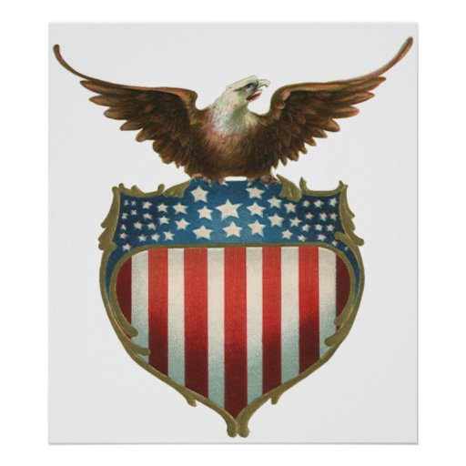 Vintage Patriotic, American Flag with Bald Eagle Poster