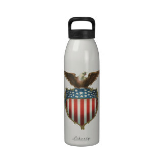 Vintage Patriotic, American Flag with Bald Eagle Drinking Bottles