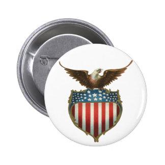 Vintage Patriotic, Bald Eagle with American Flag Button