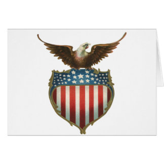 Vintage Patriotic, Bald Eagle with American Flag Card