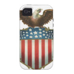 Vintage Patriotic, Bald Eagle with American Flag Case-Mate iPhone 4 Cases