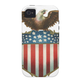 Vintage Patriotic, Bald Eagle with American Flag iPhone 4/4S Cases