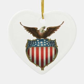 Vintage Patriotic, Bald Eagle with American Flag Ceramic Ornament