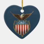 Vintage Patriotic, Bald Eagle with American Flag Ceramic Ornament
