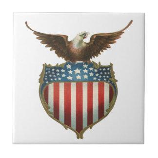 Vintage Patriotic, Bald Eagle with American Flag Ceramic Tile