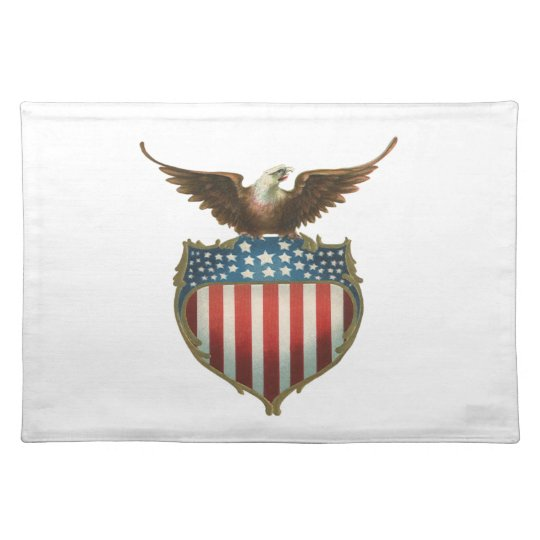 Vintage Patriotic, Bald Eagle with American Flag Cloth Placemat