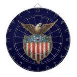 Vintage Patriotic, Bald Eagle with American Flag Dartboard With Darts