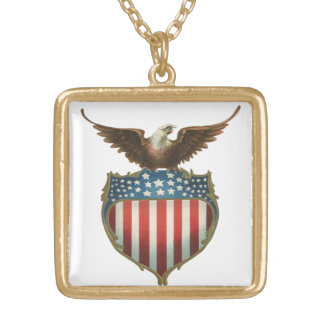 Vintage Patriotic, Bald Eagle with American Flag Gold Plated Necklace