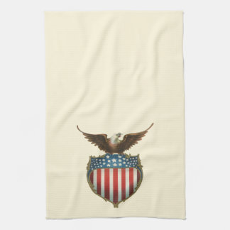 Vintage Patriotic, Bald Eagle with American Flag Hand Towels