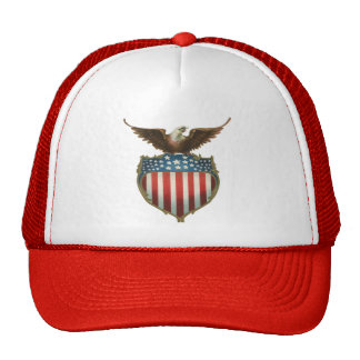 Vintage Patriotic, Bald Eagle with American Flag Trucker Hat