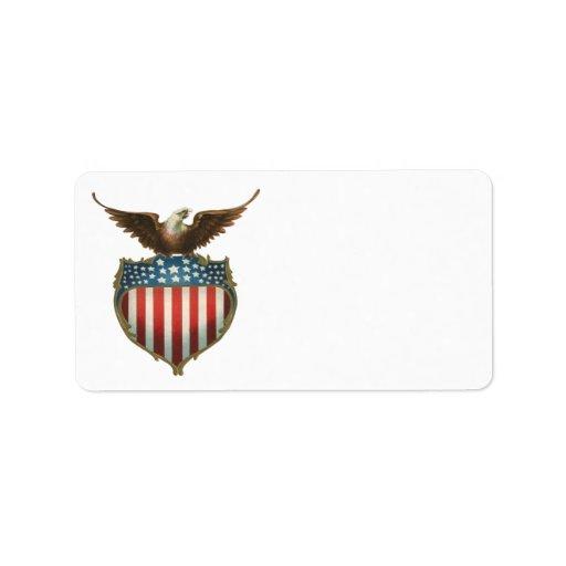 Vintage Patriotic, Bald Eagle with American Flag Label