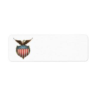 Vintage Patriotic, Bald Eagle with American Flag Return Address Labels