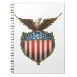 Vintage Patriotic, Bald Eagle with American Flag Spiral Notebooks