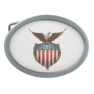 Vintage Patriotic, Bald Eagle with American Flag Oval Belt Buckle