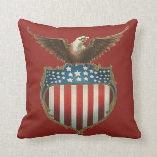Vintage Patriotic, Bald Eagle with American Flag Pillow