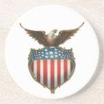 Vintage Patriotic, Bald Eagle with American Flag Sandstone Coaster