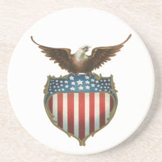 Vintage Patriotic, Bald Eagle with American Flag Sandstone Coaster