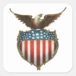 Vintage Patriotic, Bald Eagle with American Flag Square Sticker
