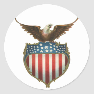 Vintage Patriotic, Bald Eagle with American Flag Classic Round Sticker