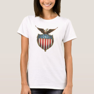Vintage Patriotic, Bald Eagle with American Flag T-Shirt