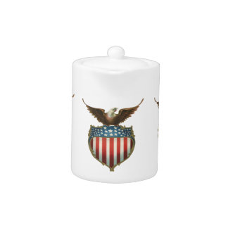 Vintage Patriotic, Bald Eagle with American Flag Teapot