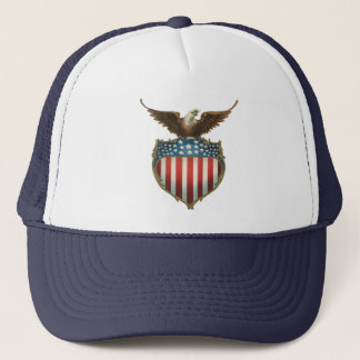 Vintage Patriotic, Bald Eagle with American Flag Trucker Hat