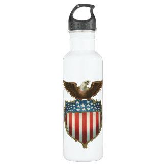 Vintage Patriotic, Bald Eagle with American Flag Water Bottle