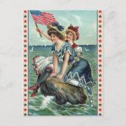 Vintage Patriotic Beach Women Postcard