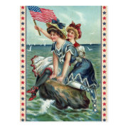 Vintage Patriotic Beach Women Postcard