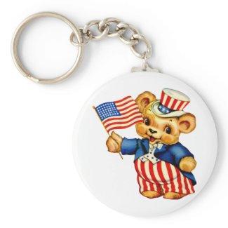 Vintage Patriotic Bear Keychain