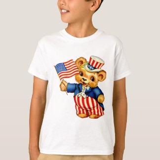 Vintage Patriotic Bear Kids T-Shirt