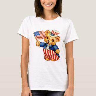 Vintage Patriotic Bear Ladies Baby Doll Shirt