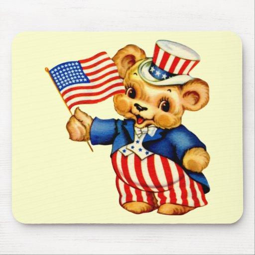 Vintage Patriotic Bear Mousepad Mouse Pad