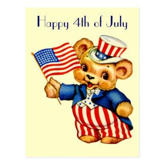 Vintage Patriotic Bear Postcard