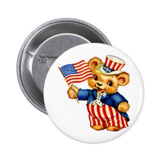 Vintage Patriotic Bear Round Button
